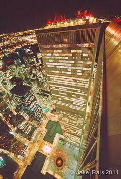 World Trade Center, Twin Towers, looking down at Austin Tobin Plaza, designed by Minoru Yamasaki, Manhattan, New York City, New York, International Style II, Night | Flickr - Photo Sharing!