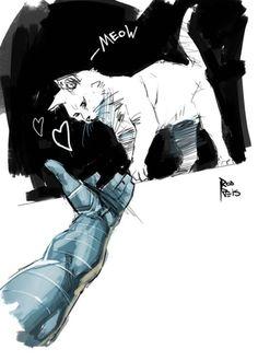 """""""Also, Bucky gets a cat Marvel Fan Art, Marvel Avengers, Marvel Comics, Avengers Quotes, Avengers Imagines, Avengers Cast, Marvel Jokes, James Barnes, Dc Memes"""