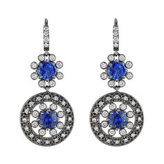 Drop earrings by @Penny Preville, with brilliant cut diamonds and round sapphires. These earrings are a true fashion statement! Available at TIVOL.