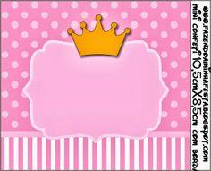 Coronas sobre fondo rosa: Etiquetas para Imprimir Gratis.