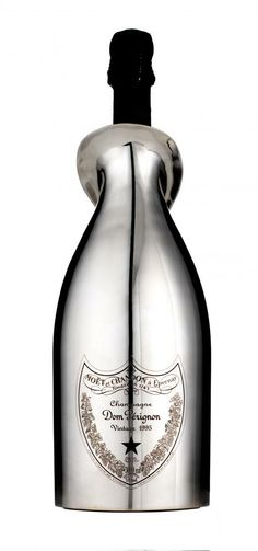 Encased in a plated white gold bottle, Dom Perignon Vintage 95 is the most expensive champagne jeroboam - an exceptional collector's item. Expensive Champagne, Damaged People Are Dangerous, Gold Bottles, Dom Perignon, Gold Champagne, Bubbles, White Gold, Bronze, Events