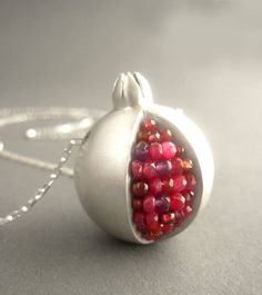 Pomegranate Necklace  Ruby and Matte Silver by Artesserae on Etsy, $450.00