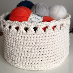 Crocheted basket by annikaisa Yarn Crafts, Diy And Crafts, Fabric Boxes, Pink Faux Fur, Basket Bag, Crochet Fashion, Plastic Laundry Basket, Handicraft, Needlework