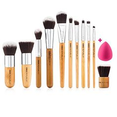 NEW 11 Piece Professional Makeup Brush Set with Premium Synthetic Hair and Natural Bamboo handles for Face Cheeks and Eyes plus includes a BONUS Complexion Beauty Sponge Blender >>> Check out the image by visiting the link.
