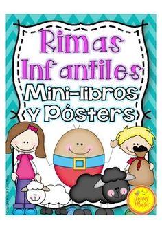 Foldable Nursery Rhyme Bookets~ Spanish Translations: 17 Rimas infantiles ~85 páginas! Esta es una perfecta adición para la Unidad de Rimas Infantiles: Mini-libros y Pósters en color y blanco y negro de Rimas Infantiles. $