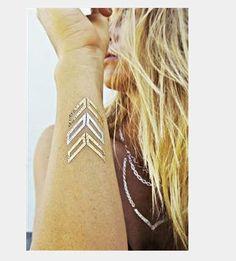 Body Art Gold Silver Metallic Temporary Tattoo Body Jewelry Fake Tattoo 2 SHEETS TatTigers on Etsy