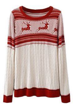 ROMWE | ROMWE Deer Knitted Long Sleeves Red Jumper, The Latest Street Fashion