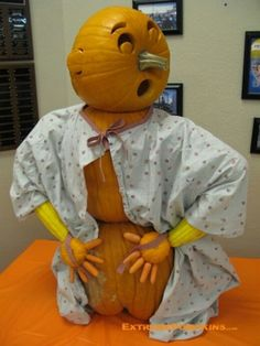 halloween decorated pumpkin medical office sick patient pumpkin person