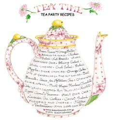 This pretty Teapot is FULL of recipes for Tea Time!!!... (really cute & clever idea).... the recipes are all listed ON the teapot itself.... just click on the recipe you want, and you'll go to another page on her blog with the whole recipe! YUM, YUM :) ( flour less choc. cake is included.)