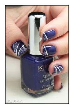 Utopian Blue (415)  Starry Indigo (407) - Kiko // Striping tape nails @Elle_Oh_Die