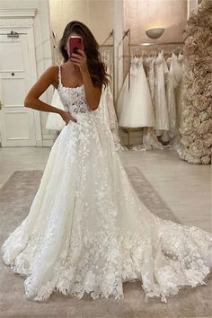Sexy Spaghetti Strap Lace A Line Floor Length Wedding Dresses | Yesbabyonline.com Cheap Lace Wedding Dresses, Wedding Dress Train, Cute Wedding Dress, Dream Wedding Dresses, A-line Wedding Dresses, Backless Wedding, Open Back Wedding Dress, Square Wedding Dress, Sophisticated Wedding Dresses