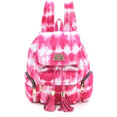 Juicy Couture Nylon Backpack ($198) ❤ liked on Polyvore featuring bags, backpacks, accessories, bolsas, purses, pink tie dye, juicy couture, nylon bag, drawstring backpack bags and nylon drawstring bag
