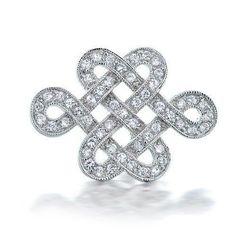 Bling Jewelry Eternal Love Knot CZ Wedding Brooch Pin