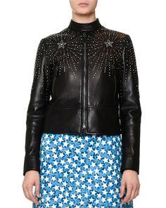 Valentino Embellished Leather Bomber Jacket & Long-Sleeve Star-Print Shirtdress