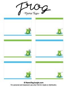name tag template free printable Free printable frog name tags. The template can also be used for . Preschool Name Tags, Preschool Classroom Decor, Classroom Labels, Name Tag Templates, Templates Printable Free, Printables, Border Templates, Cubby Name Tags, Printable Name Tags