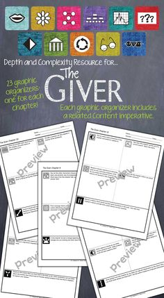 Depth and Complexity graphic organizers for each chapter of The Giver.