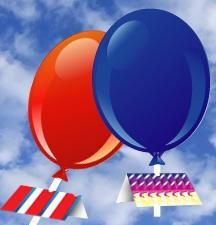 Create a red, white and blue balloon rocket using household items. Kids can experiment how high the rocket flies trying different sized fins.