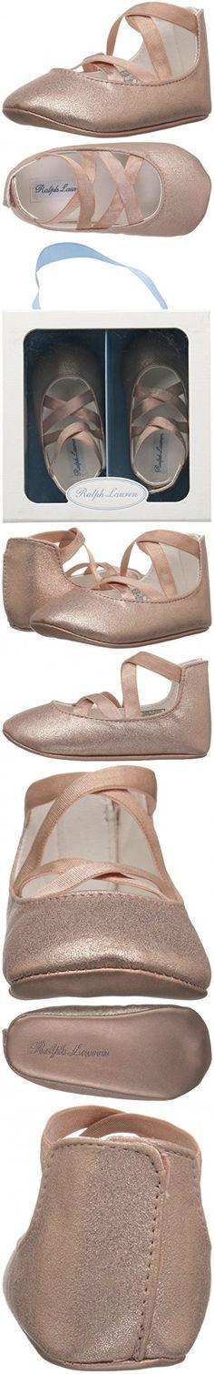 Ralph Lauren Layette Girls' Priscilla Ballet Flat, Pink/Metallic, 1 M US Infant