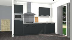 Comfort opstelling keukens van #voortman in bijvoorbeeld kleur #antraciet inclusief 5 apparaten van #etna