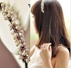menina moda tecido novo vintage cristal ouro pérola bandana faixa do cabelo headband clip para acessórios femininos jóias para o cabelo gril € 1,50