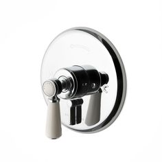 Waterworks Highgate Pressure Balance with Tub Diverter Trim with White Porcelain Lever Handle. Finish Options: Chrome, Nickel, Un-Lacquered Brass