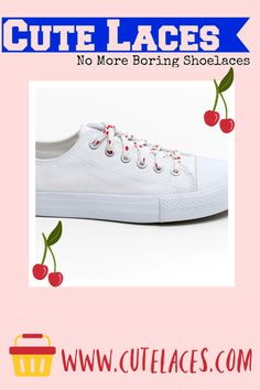 Shoelaces -Cherries - Red on White - Wedding Shoe Laces - Cotton anniversary gift - Shoelace Swap - Cherry - Shoe Strings - Cute Fruit How To Lace Converse, Converse Wedding Shoes, White Wedding Shoes, Red Wedding, High Top Chucks, Converse Low Tops, Bright Shoes, Colorful Shoes, Cute Fruit