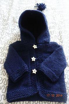 Gilet Bébé à capuche bleu marine Taille 3 6 mois - Le tricot dans tous ses  états 2a34d75f7d8