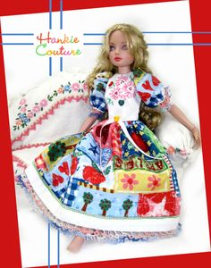 Bright Patchwork for Ellowyne Wilde!  Visit the Hankie Couture website today!  http://hankiecouture.com   Doll face painted by Nancy Lee Moran  #Hankiecouture #doll #Ellowyne