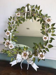 Vintage Italian Tole Ware Love Birds Mirror, Roses #Italian