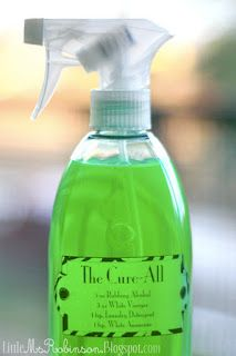 The Cure-All  5 oz. of Rubbing Alcohol 3 oz. of White Vinegar 1 tsp. of Laundry Detergent 1 tsp. of White Ammonia  2 drops of Essential Oil Fill the remaining space with Water