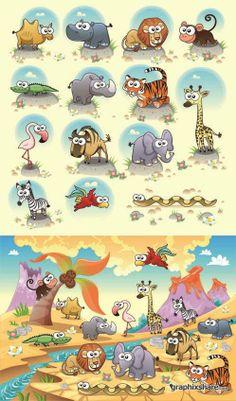 Funny And Unusual Animals Vector Set. Много закладок