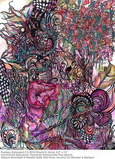 "Zentangle Inspired Art: Floral Fantasy Series by Sharla R. Hicks, Certified Zentangle Teacher © 2012, Alcohol Ink Monoprint 8.5"" x 11"", via Flickr."