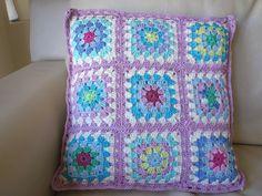 Crochet Granny Square cushion, pink shade, 100% cotton yarn