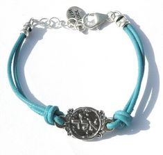 75 TURQUOISE Leather 925 Silver Protection Charm Bracelet for Women  Evil Eye Protection Bracelet ** To view further for this item, visit the image link.(This is an Amazon affiliate link)