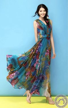 Blue Floral Bohemian A-line Dress Full Pleated Skirt Beach Wedding Bridesmaid Tiered Maxi Casual Holiday Ball Gown Shop Now: fusionfever.com
