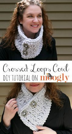 Crochet Tutorial Patterns The Crossed Loops Cowl is a very special pattern - you make it with your fingers! No special skills needed for quick and cozy free neckwarmer pattern! Just one ball of Red Heart Yarns Loop-It needed - and video tutorial included! Finger Knitting Projects, Yarn Projects, Crochet Scarves, Crochet Yarn, How To Crochet A Scarf, Loom Knitting, Hand Knitting, Knitting Patterns, Crochet Patterns