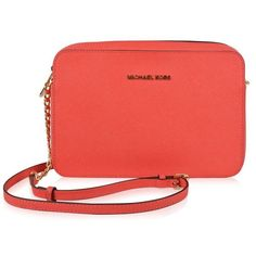 Michael Michael Kors Jet Set Large Crossbody Bag ($120) ❤ liked on Polyvore featuring bags, handbags, shoulder bags, coral reef, leather shoulder handbags, cross-body handbag, crossbody shoulder bags, leather purses and red crossbody