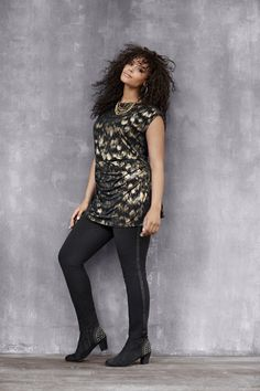 Shimmer Print Tunic. Just add leggings and your fave heels for trend-savvy combo. #LaneBryant