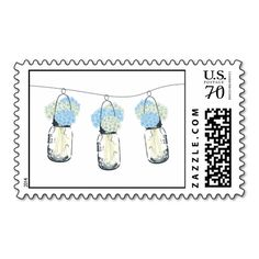 Mason Jar filled with Hydrangea Flowers Postage Stamps