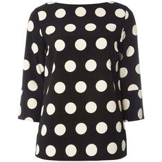 Dorothy Perkins Monochrome Spotted T-Shirt (140 BRL) ❤ liked on Polyvore featuring tops, t-shirts, black, polka dot t shirt, dorothy perkins, polka dot top, polyester t shirts and dot t shirt