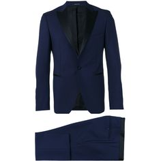 Tagliatore Two-piece Dinner Suit ($508) ❤ liked on Polyvore featuring men's fashion, men's clothing, men's suits, mens slim suits, mens tuxedo suits, mens two piece suits, mens blue slim fit suit and men's 2 piece suits
