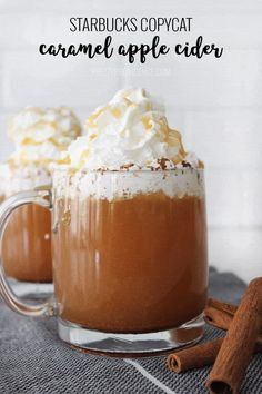 Create your favorite caramel apple cider at home with this quick and easy Starbucks Copy Cat Apple Cider recipe. Create your favorite caramel apple cider at home with this quick and easy Starbucks Copy Cat Apple Cider recipe. Starbucks Apple Cider, Starbucks Caramel, Cat Recipes, Cooking Recipes, Yummy Drinks, Yummy Food, Winter Drinks, Fall Desserts, Gourmet