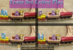 Letter and word play with trains.