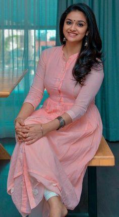 Celebrity Anarkali Suits, Anarkali Dress, Dream Dress, Salwar Designs, Blouse Designs, Indian Outfits, Indian Dresses, Churidhar Designs, Kirthi Suresh
