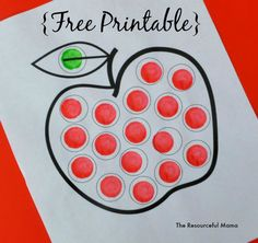 Do a Dot Marker free printable apple worksheet for dot painting. Preschool Apple Theme, Fall Preschool, Preschool Activities, Preschool Apples, Preschool Education, Preschool Class, Preschool Books, Daycare Crafts, Classroom Crafts