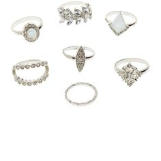 Charlotte Russe Embellished Stacking Rings - 7 Pack ($6) ❤ liked on Polyvore featuring jewelry, rings, silver, charlotte russe, geometric jewelry, stackable rings, sparkle jewelry and imitation jewellery