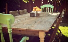 Large 8ft // Reclaimed Wood Farmhouse Dining Table // Raw Unfinished via Etsy.