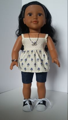 American Girl Doll Clothes - Pansy Suntop and Jean Shorts by Grandmasadiescloset on Etsy