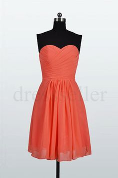 Custom Short Coral Bridemaid Dresses 2014 Chiffon by dressseller. love the color