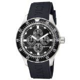Men's Wrist Watches - Invicta Signature II GMT Black Dial Stainless Steel Black Rubber Mens Watch 7401 *** Want additional info? Click on the image.